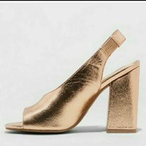 Metallic Gold Open Toe Slingback Chunky Heels